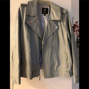 Rachel Zoe gray faux leather jacket